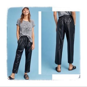 Anthropologie Vegan Faux Leather High Rise Pants